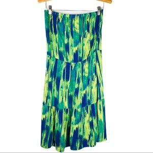 GAP blue green strapless tiered abstract dress